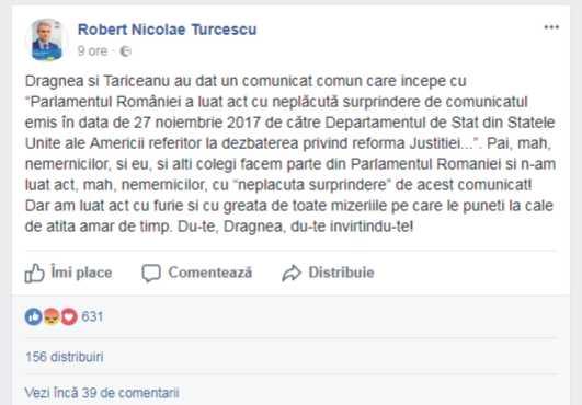 """Turcescu: """"Nemernicilor. Eu n-am luat act cu surprindere!"""""""