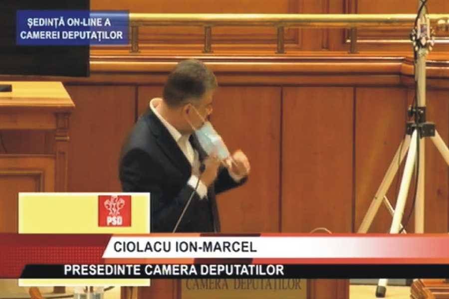 Ciolacu, umilit în Parlament. Roman: Am rugămintea să dezinfectați microfonul