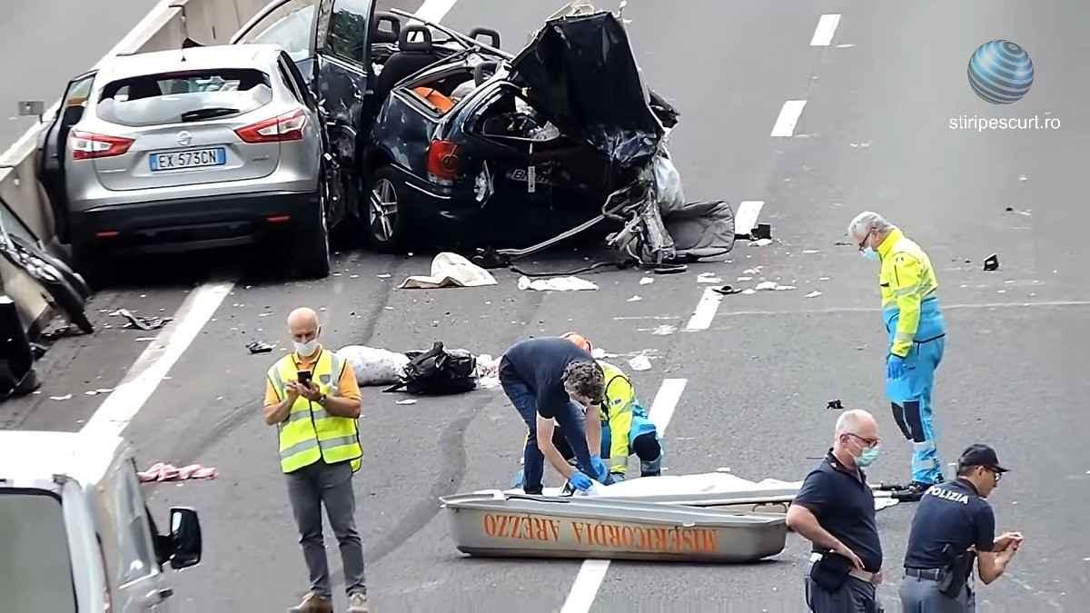Opt români implicați într-un grav accident, în Italia. Intervenție MAE. Șoferul, arestat - VIDEO