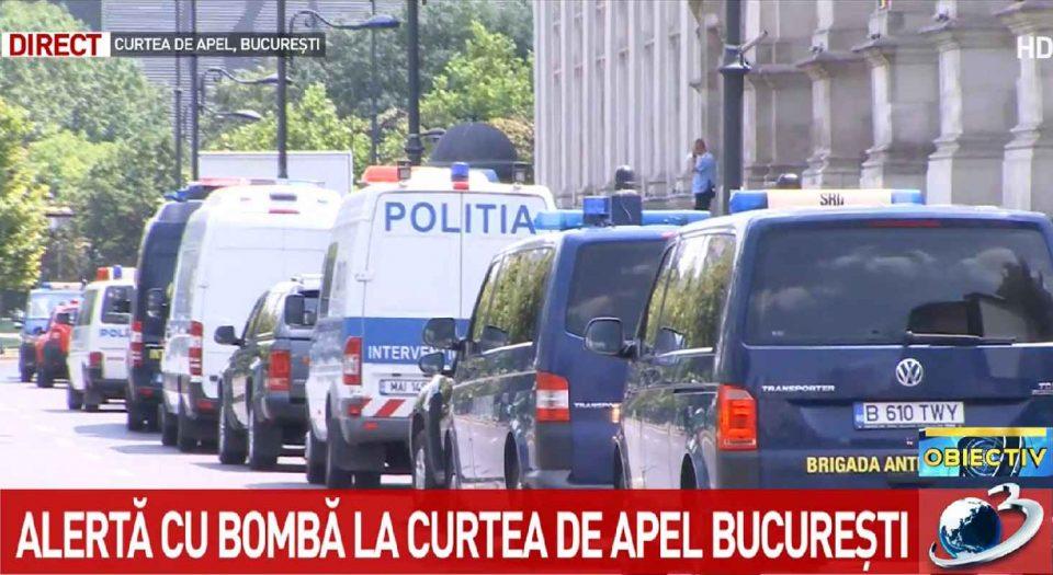 Alertă cu bombă la Curtea de Apel București. foto: captură video Antena 3
