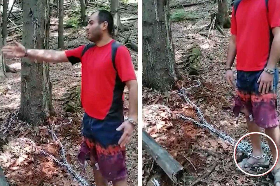 Tehnici de supraviețuiri periculoase: Un tânăr care s-a legat de un copac și a aruncat cheia lacătului, a fost salvat de salvamontiști. captură foto Salvamont