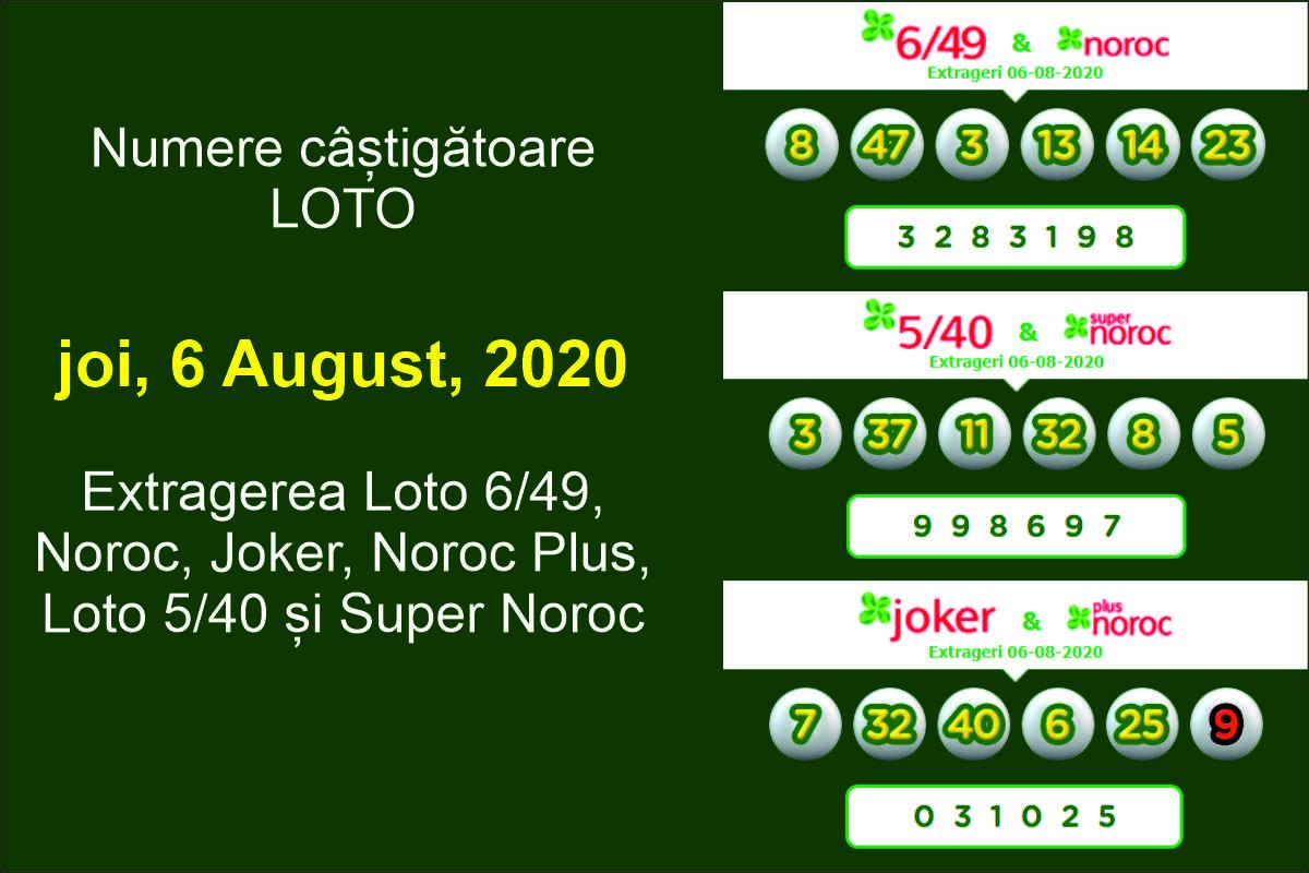 Numere câștigătoare LOTO joi, 6 august, 2020. Extragerea Loto 6/49, Noroc, Joker, Noroc Plus, Loto 5/40 și Super Noroc
