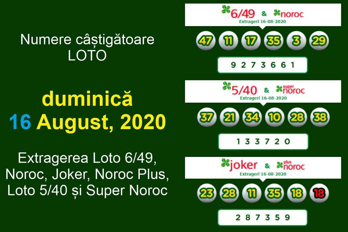 Numere câștigătoare LOTO duminică 16 august 2020. Extragerea Loto 6/49, Noroc, Joker, Noroc Plus, Loto 5/40 și Super Noroc