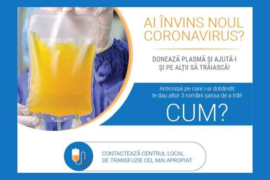 Campanie națională pentru informarea pacienților COVID-19 cu privire la donarea de plasmă convalescentă