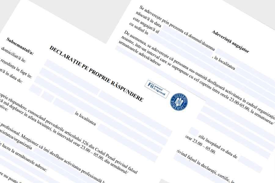 Declarația pe propria răspundere și Adeverința de la angajator, de luni. Descarcă documentele
