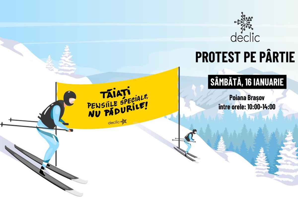 Protest pe schiuri faţă de tăierea pădurilor, organizat de Comunitatea Declic în Poiana Braşov