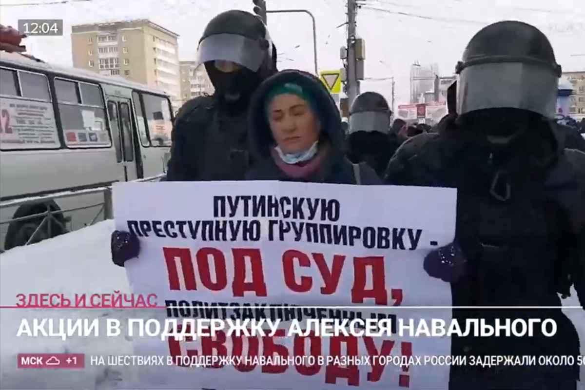 Zeci de persoane arestate la manifestaţiile pentru Navalnîi. foto: Captură video Rain Tv, Rusia