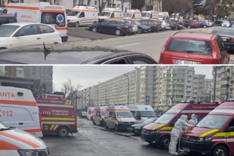 Imaginea dezastrului: Cozi de ambulanţe, la Spitalul de Boli Infecţioase Braşov. Și cazul NU este unic!