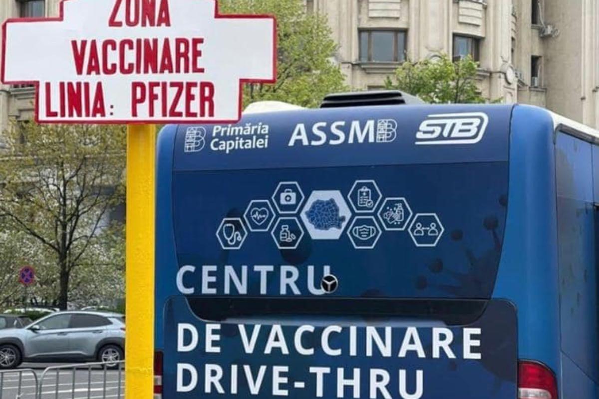 S-a deschis primul centru de vaccinare drive- through din Bucureşti. Imunizarea se face cu ser Pfizer, fără programare