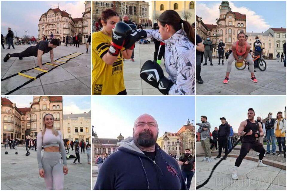 Protest al sportivilor şi pasionaţilor de fitness faţă de închiderea sălilor de sport, la Oradea. foro: ebihoreanul.ro