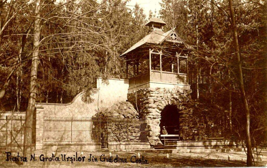 Grota Urșilor, Gradina Zoo Piatra Neamț, colecția Sergiu Găbureac -1912. Editor Amiel Horovitz