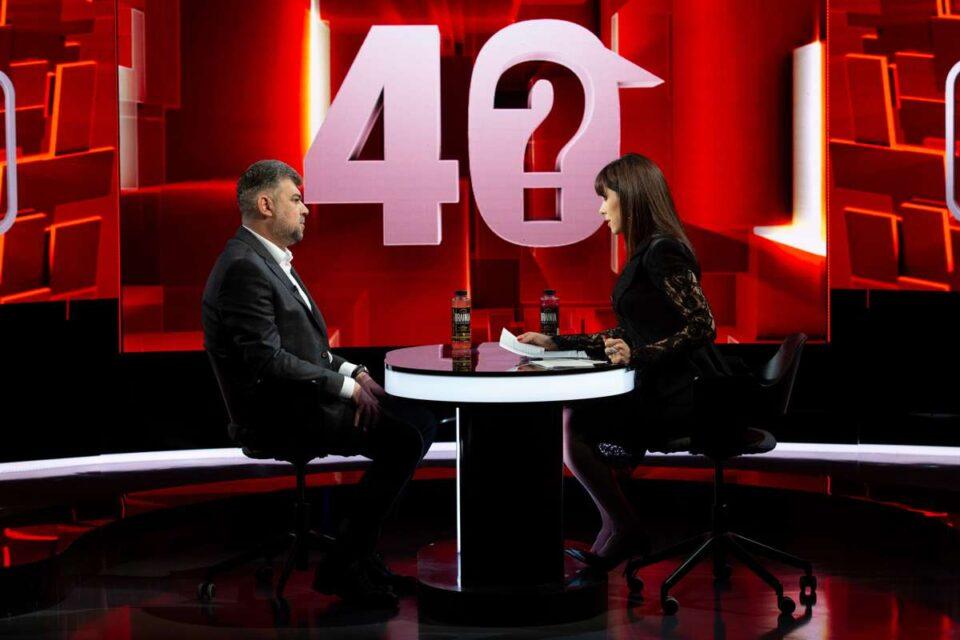 Marcel Ciolacu, invitatul de marți, 8 iunie, la 40 de întrebări cu Denise Rifai